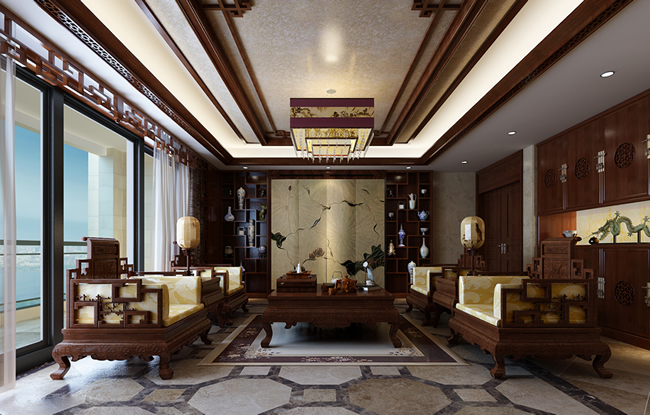 四合茗苑古典中式别墅效果图的魅力所在